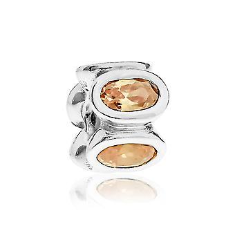 Pandora oval silver & champagne CZ charm 790311CCZ