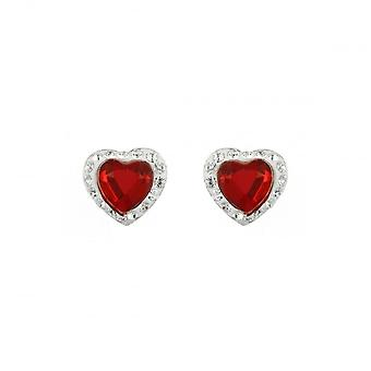 Eternity Sterling Silver Red Crystal Heart Stud Boucle d'oreille