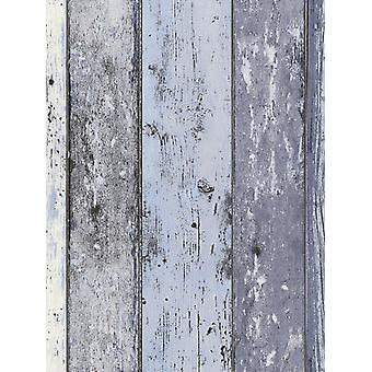 Distressed Holz Panel Wallpaper Blau AS Schöpfung 8550-60