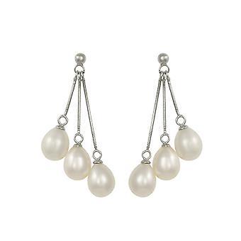 Ewige Sammlung Medici weißen Süßwasser Perlen Sterling Silber Tropfen Ohrhänger