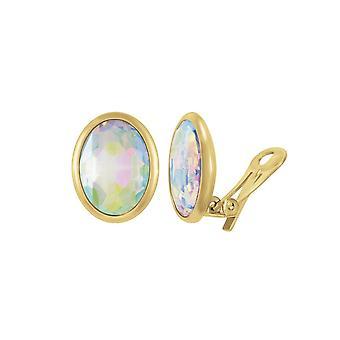 Ewige Sammlung wertvoller Aurora Borealis Crystal Oval Goldton Stud Clip auf Ohrringe