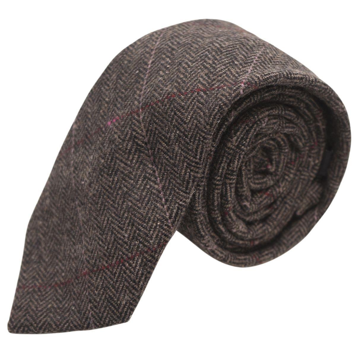 Luxury Mocha Brown Herringbone Check Tie, Tweed