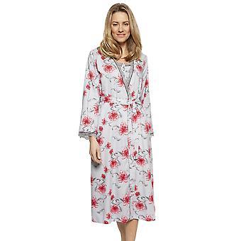 Cyberjammies 1327 Women's Nora Rose Nancy Grey Mix Floral Cotton Long Bornoz