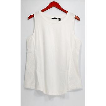 H par Halston Top Sleeveless Cotton Blend Knit Tank White A288601