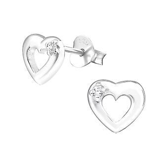 Heart - 925 Sterling Silver Cubic Zirconia Ear Studs - W21873X
