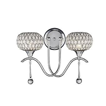 Diyas Chelsie Wall Lamp 2 Light Polished/Clear Glass