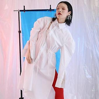 Drawstring Loose Style Long   Blouse