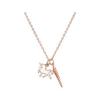 GEMSHINE ketting Unicorn hoorn hanger in zilveren ketting Rose verguld