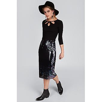 Louche Leana Midnight Sequin Skirt Purple