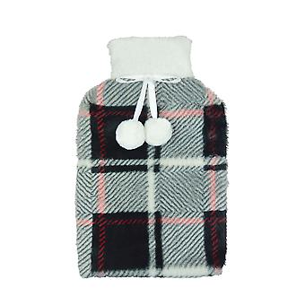 Tartan Design Fleece Covered Natural Rubber Hot Water Bottle 2 Ltr Black