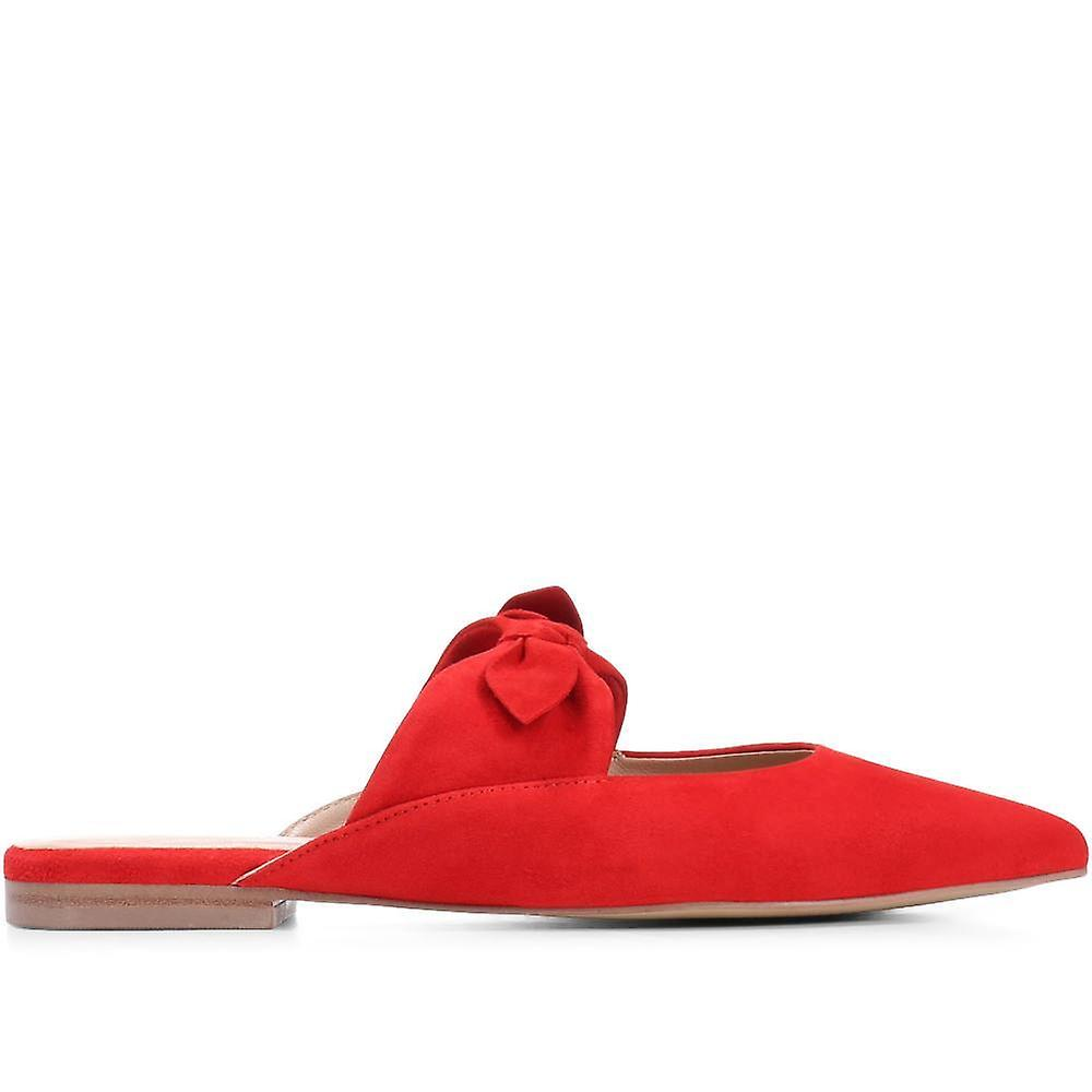Pointed flat leather mules - lein