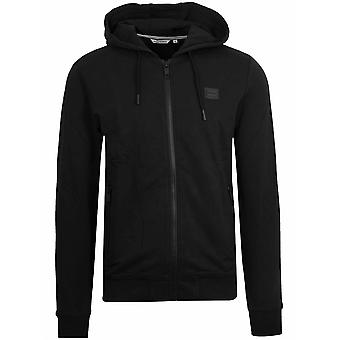 Antony Morato Black Plaque Logo Zipped Hooded Sweatshirt