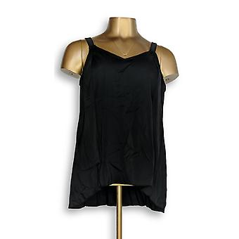 Denim & Co. Badeanzug Strand Hi-Low Tankini Top Schwarz A345640