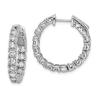 925 Sterling Silver Polerad Säkerhetslås Rhodium pläterad med CZ Cubic Zirconia Simulerad Diamant Gångjärn Hoop Örhängen M