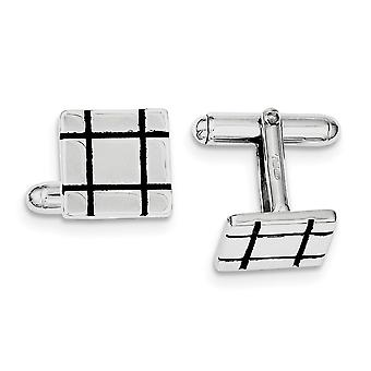 925 Sterling Zilver Massief gepolijst Zwart Email Grooved Square Cuff Links Sieraden Geschenken voor mannen