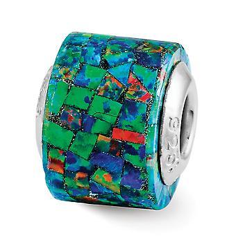 925 Sterling Silver polerad antik finish Reflektioner Syntetisk simulerad Opal Mosaic Pärla Charm Hängande Halsband Jewe
