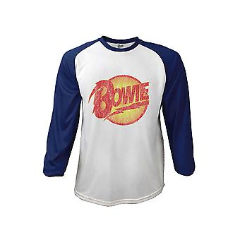 David Bowie T Shirt Smoking Portrait new Official Mens White 3/4 Sleeve Baseball