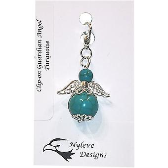 Handmade Clip-on Semi-precious Turquoise Gemstone Guardian Angel in Silver Plated by Nyleve Designs