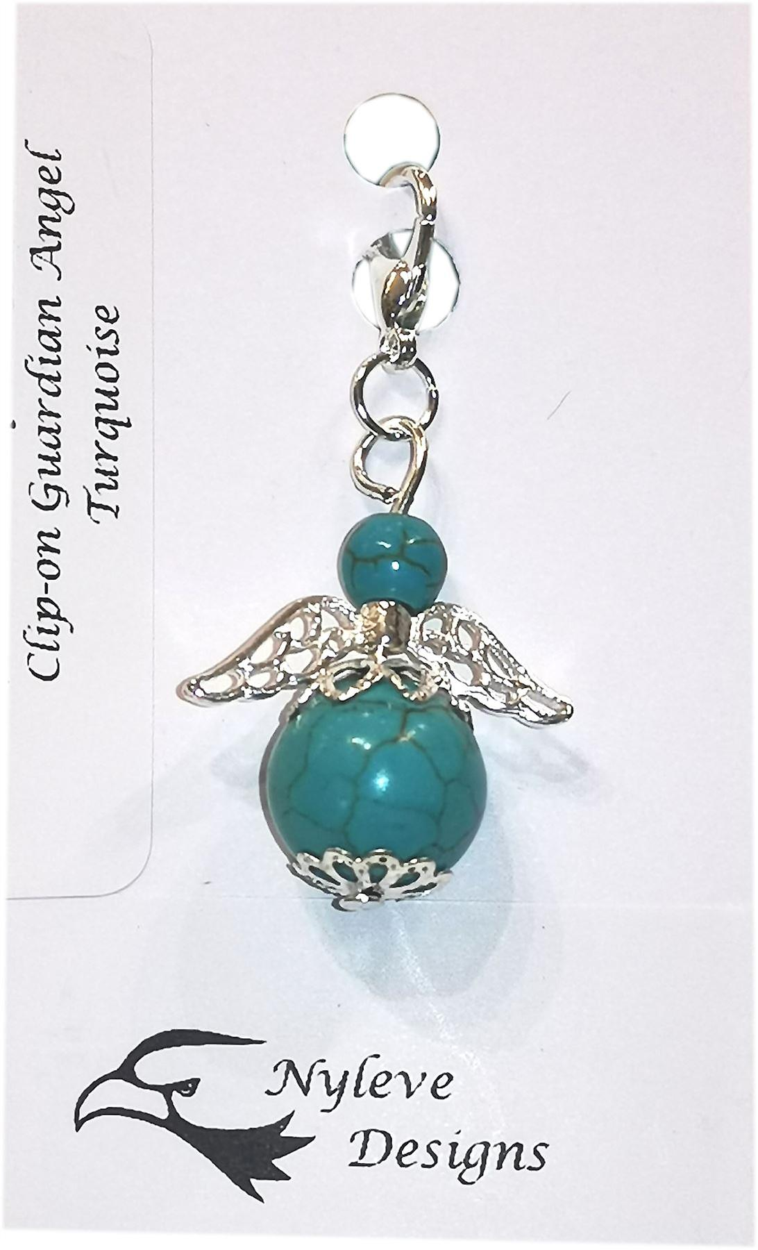 Nyleve Designs handmade Clip-on Semi-precious Turquoise Gemstone Guardian Angel in Silver Plated