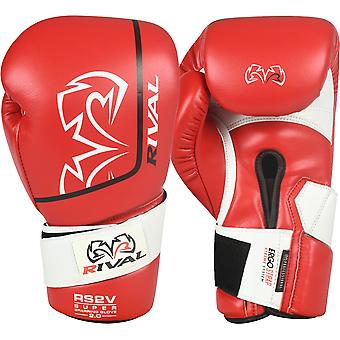Rival Boxing RS2V 2.0 Super Pro Hook and Loop Sparring Gloves - 16 oz. - Red