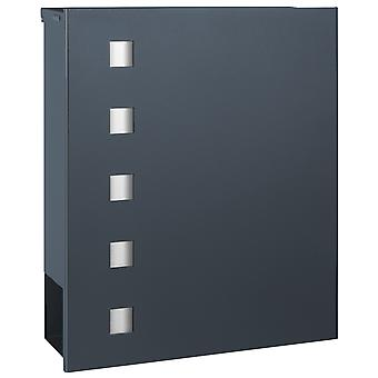 MOCAVI Box 121 Letterbox with newspaper compartment anthracite grey (RAL 7016) with stainless steel design