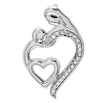 Dazzlingrock Collection 0.15 Carat (ctw) Round Diamond Mothers Day Special Mom Child Ladies Pendant, Sterling Silver