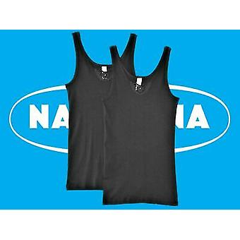 Naturana Lingerie [ UK SIZE 16 ] Women's XL Black 100% Cotton Vests Twin Pack