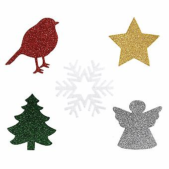 10 Large Assorted Glittered Felt Christmas Craft Shapes