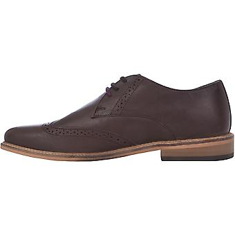 Lambretta Mens Franky Lace Up Formal Smart Waxy Leather Brogues Shoes - Brown