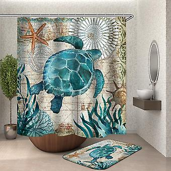 Vintage Map Turtle Shower Curtain