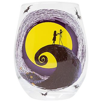 Nightmare Before Christmas Jack And Sally Moon Scene Stemless Glass