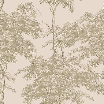 Eden Forest Trees Wallpaper Rosa / Oro Rasch 214314