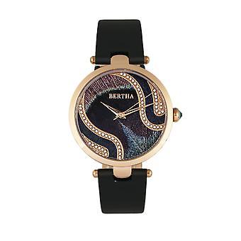 Bertha Trisha Leather-Band Watch w/Swarovski Crystals - Black