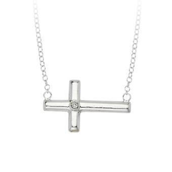 925 Sterling Silver Rhodium Plated Side ways Adjustable 0.01 Dwt Diamond Religious Faith Cross Necklace 18 Inch Jewelry