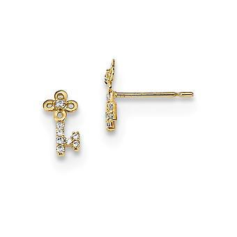 4.8mm 14k Madi K Kids CZ Cubic Zirkonia Simuloitu Diamond Key Post korvakorut korut lahjat naisille