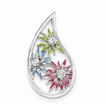 925 Sterling Argent Bleu Vert Rose Enamel CZ Cubic Zirconia Simulated Diamond Slide Bijoux Cadeaux pour les femmes