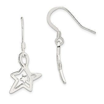 925 Sterling Silver Polished Sparkle Cut Star Long Drop Dangle Earrings Jewelry Gifts for Women
