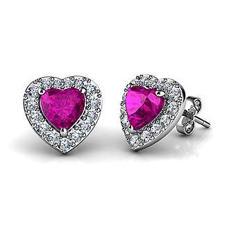 Dephini pink heart earrings  925 sterling silver stud earrings cz