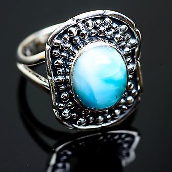 لاريمار رينغ الحجم 8 (925 الجنيه الاسترليني الفضة) -- اليدوية بوهو خمر مجوهرات RING992561