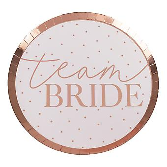 Rose Gold erröten rosa Spotty Team Braut Henne Papier Party Platten x 8