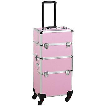 Aluminium Rolling Makeup Case Salon Kosmetik Veranstalter Trolley Train Case Pink