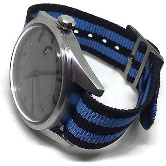 Nato zulu g10 watch strap 2 stripe blue and black 14mm to 20mm stainless steel buckle