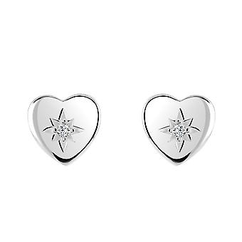 Dew Sterling Silver Heart Cubic Zirconia In Star Stud Earrings 3090CZ