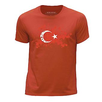 STUFF4 Boy's Round Neck T-Shirt/Turkey/Turkish Flag Splat/Orange