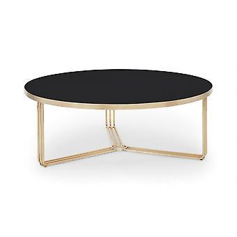 Gillmore Deco - Grande table à café circulaire avec divers dessus en verre et options de couleurs de cadre