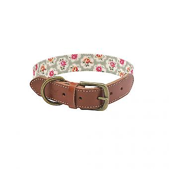 Cath Kidston Provence Rose Soft-touch Dog Collar with Leather Trim