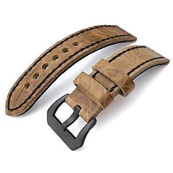 Strapcode crocodile grain watch strap 20, 21, 22mm crococalf (croco grain) honey brown watch strap with black stitches, pvd