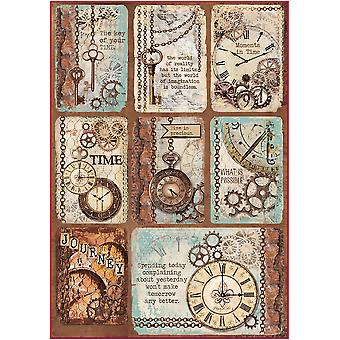 Stamperia Reis Papier Blatt A4-Clockwise Karten