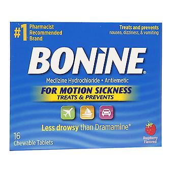 Bonine chewable tablets for motion sickness, raspberry, 16 ea
