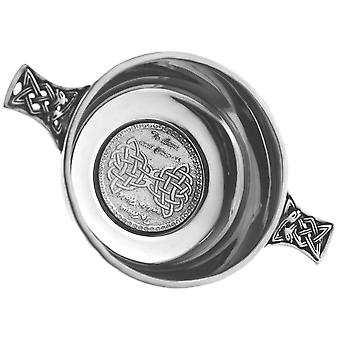 To Love and Cherish , To Have and Hold Celtic Pewter Wedding Quaich - 3.5""